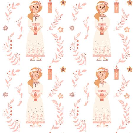 First communion little girl seamless pattern Christian background