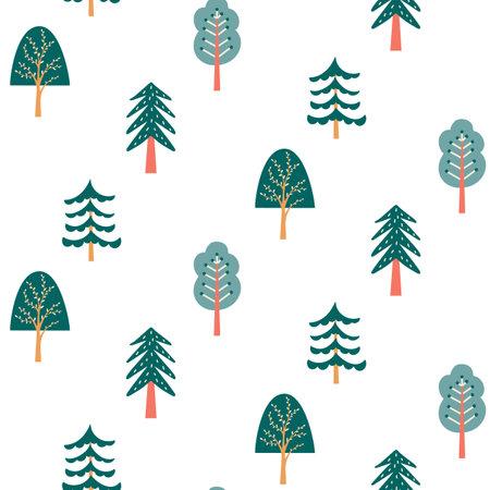 Scandinavian forest seamless pattern nordic folk floral background