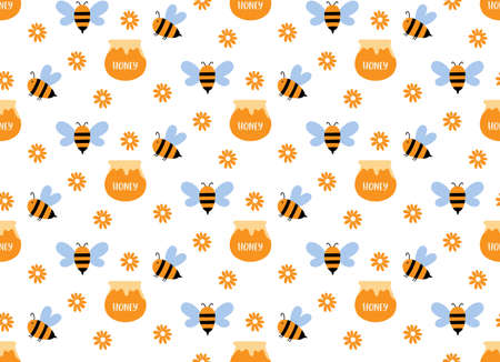 Vector seamless pattern with honey bee yellow
