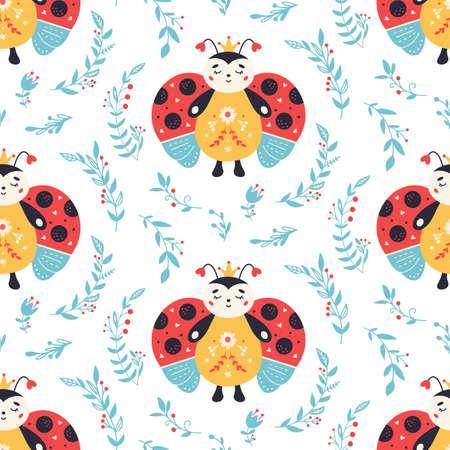 Ladybugs Seamless pattern Ladybird and flowers background 矢量图像