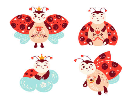 Cute cartoon ladybug vector set Ladybird Red bug 矢量图像