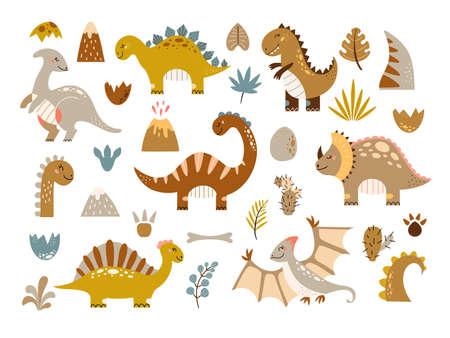 Dinosaurs vector set cartoon Cute baby dino illustration