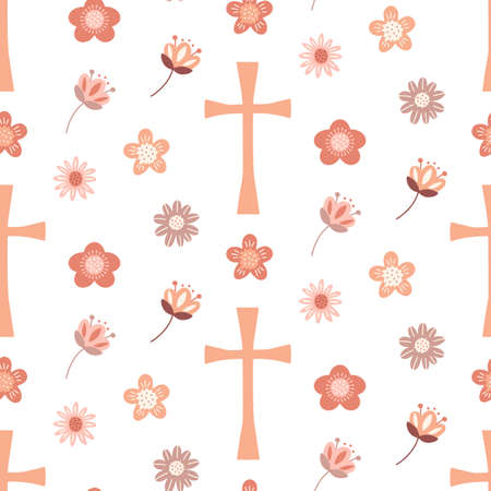 Christian seamless pattern Background with Christian cross