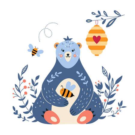 Bear with honey and bee cartoon style 矢量图像