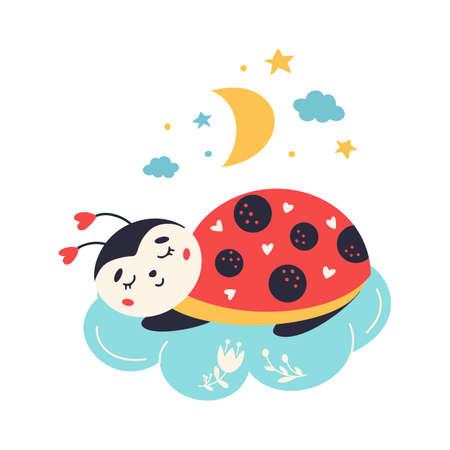 Cartoon Ladybug vector Cute sleeping ladybird insect