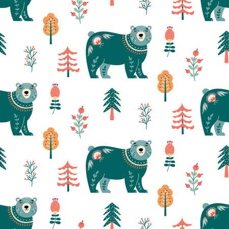 Scandinavian bear seamless pattern folk forest animal background 矢量图像