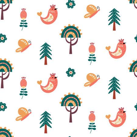 Scandinavian seamless pattern folk forest animal background 矢量图像