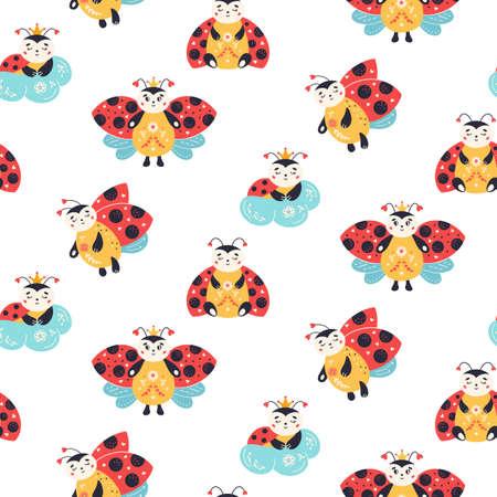 Ladybugs Seamless pattern Ladybird vector background nursery