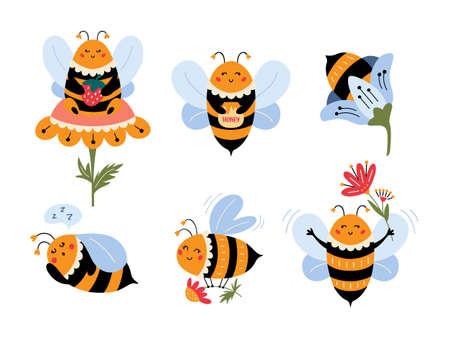 Flying Bee cartoon set Cute bumblebee character 矢量图像