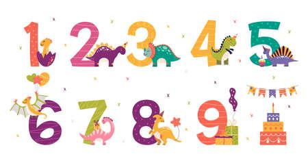Cartoon cute dinosaurs set for birthday party 矢量图像