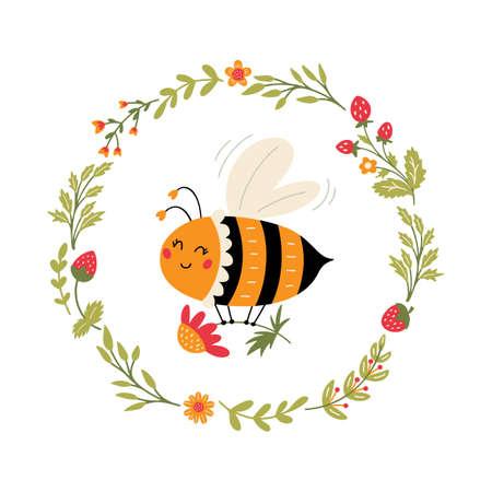 Flying Bee in floral wreath Cute cartoon bumblebee 矢量图像