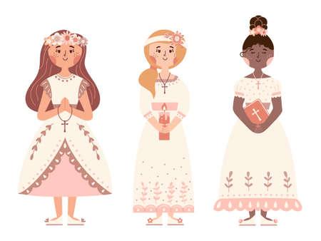 First communion day vector set girls white dresses