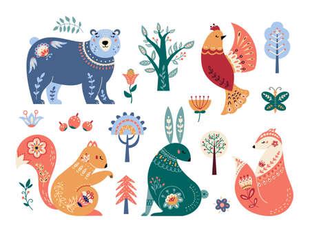 Scandinavian animals set Folk forest vector illustration