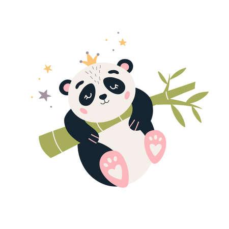 Cartoon Panda vector Cute sleeping baby bear Vectores