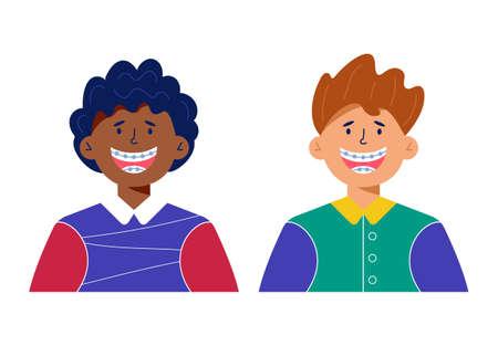 Happy boys with dental braces cartoon illustration