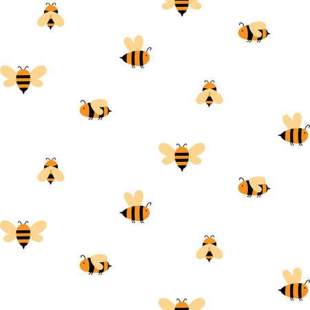 Bumble bee Seamless pattern Honeybee vector pattern