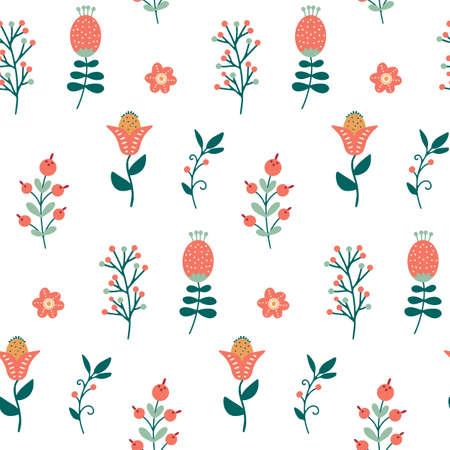 Scandinavian floral seamless pattern nordic folk flower background