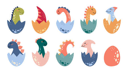 Cartoon cute dinosaurs set Baby Dino tail in egg Vectores