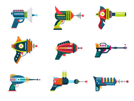 Cartoon blaster laser gun vector weapon set Vectores
