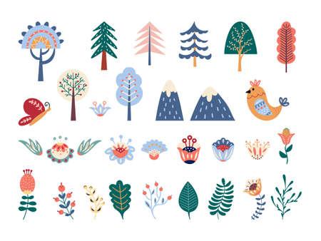 Scandinavian folk forest vector set Flowers and floral