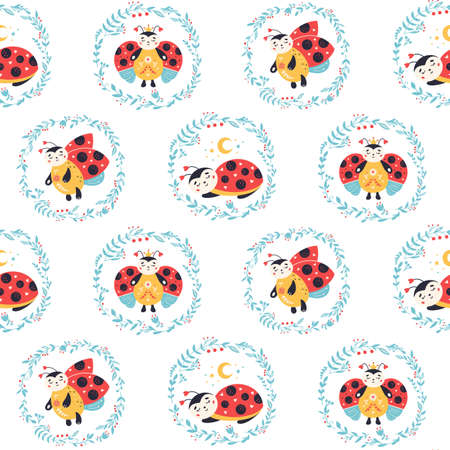 Ladybugs Seamless pattern Ladybird and flowers background Vectores