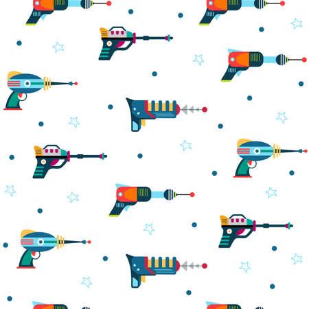 Blaster seamless pattern laser space gun background