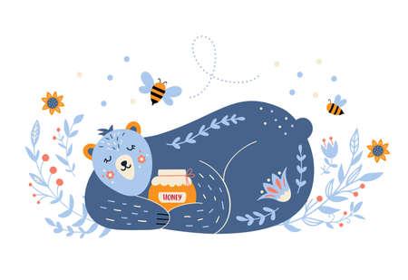 Sleeping bear with honey in folk style