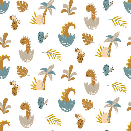Cute dinosaur Seamless pattern Cartoon baby dino nursery print Vectores