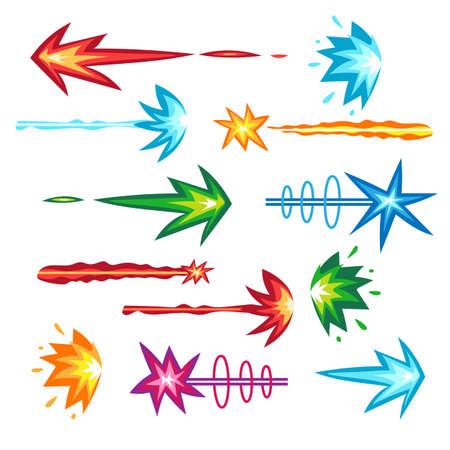 Futuristic laser gun shot beam vector set Vectores