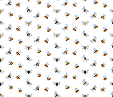 Vector nursery seamless pattern with honey bee
