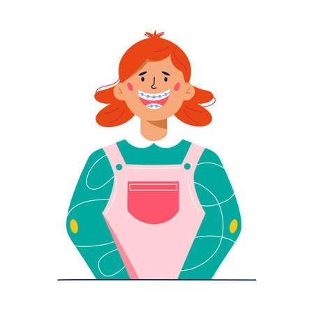 Happy kid with dental braces cartoon illustration