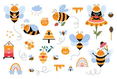 Bee vector set in cartoon style Cute bumblebee Vectores