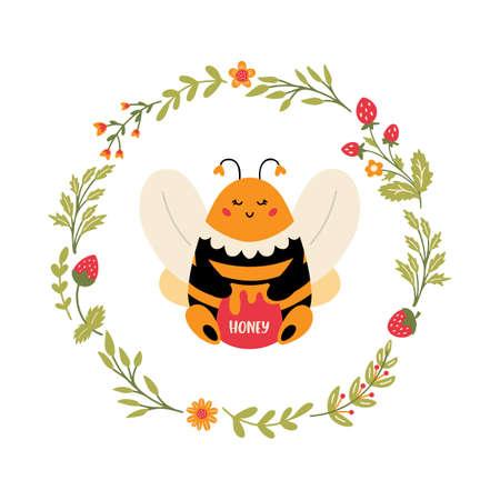 Flying Bee in floral wreath Cute cartoon bumblebee Vectores