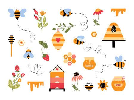 Cute cartoon bee vector set Bumblebee beehive