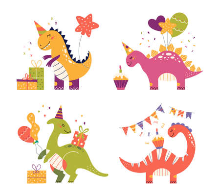 Cartoon cute dinosaurs set for birthday party Vectores