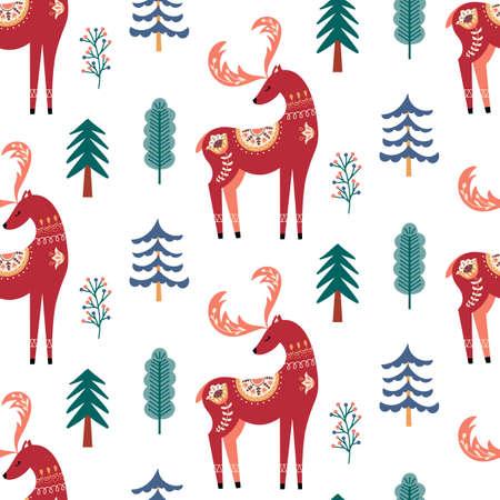 Scandinavian deer seamless pattern folk forest animal background Vectores