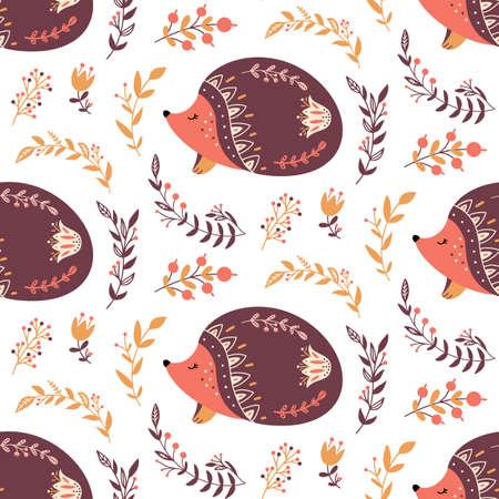 Scandinavian hedgehog seamless pattern folk forest animal background Vectores