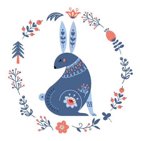 Vector rabbit in scandinavian style Folk forest animal