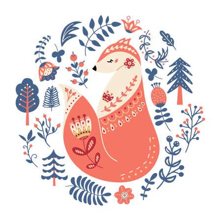 Vector fox in scandinavian style Folk forest animal Vectores