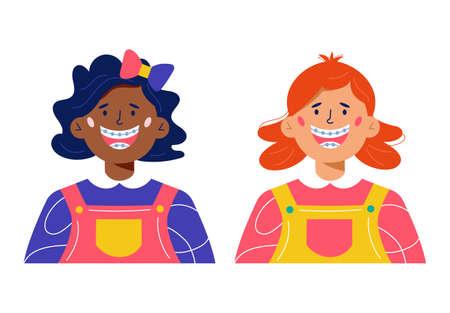 Happy girls with dental braces cartoon illustration