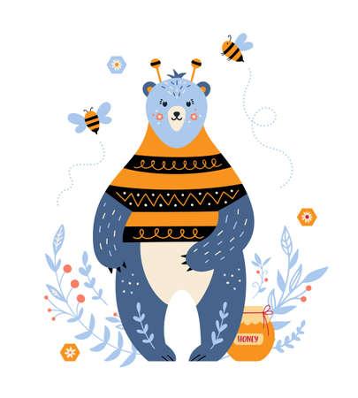 Cartoon vector bear with honey and bee