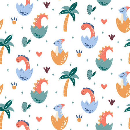 Dinosaurs vector Seamless pattern in cartoon style Vectores