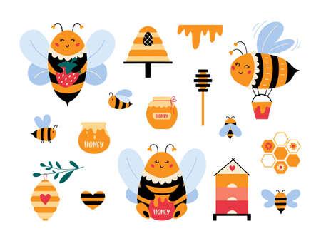 Cute cartoon bumblebee vector set Honey bee