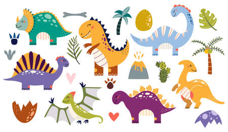 Dinosaurs vector set cartoon style Cute baby dino Vectores