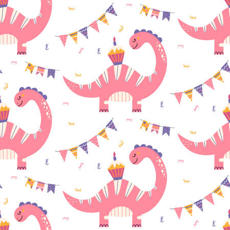 Cute dinosaur birthday seamless pattern. Prehistoric animal nursery print with balloons and cake. Baby dino texture for party and baby shower. Jurassic Vector background for invitation, wrap paper.