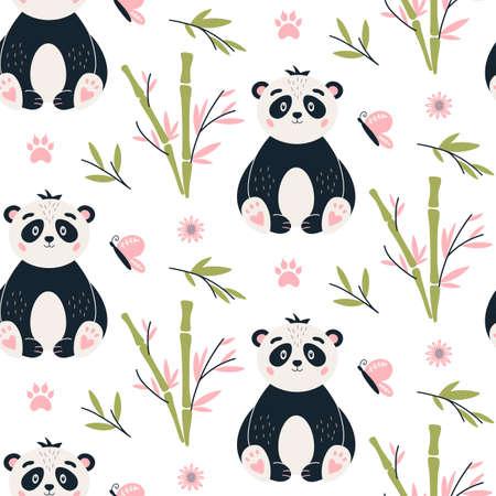 Panda Seamless pattern Cute baby bear vector background Vectores