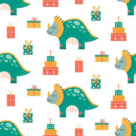 Cute dinosaur birthday seamless pattern Prehistoric animal