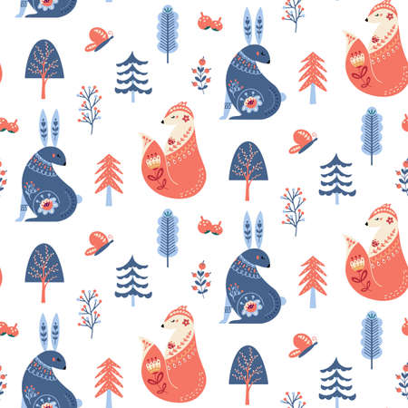 Scandinavian seamless pattern folk forest animal background Vectores