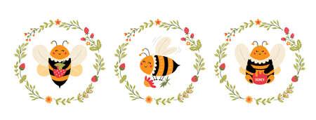 Flying Bee cartoon set Cute bumblebee character Vectores