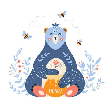 Eatind bear with honey in folk style
